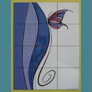 Ceramic mural in blues