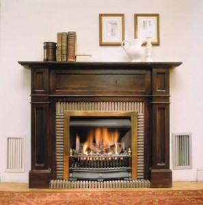 Wooden panelling fireplace